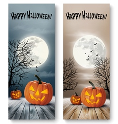 Holiday Halloween Banners with Pumpkins and Moon vector