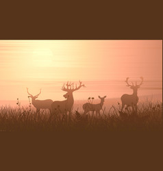 horizontal of wild animals on meadow vector image