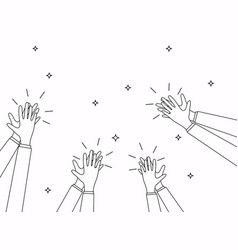 human hands clapping linear design flat design vector image