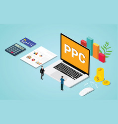 Isometric 3d ppc paid per clik advertising or vector