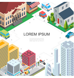 Isometric cityscape colorful template vector