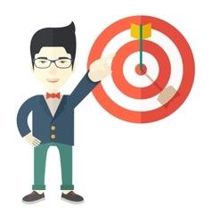 Japanese salesman hit sales target vector
