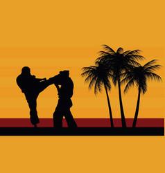 Karate belt men demonstrating karate vector