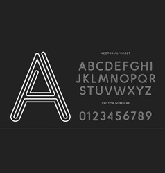 Line letters and numbers set on black background vector
