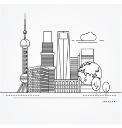 linear of shanghai china vector image