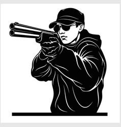 Man aiming shotgun at you vector