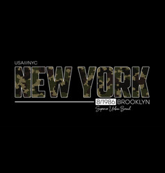 new york t-shirt design with knitted camouflage vector image