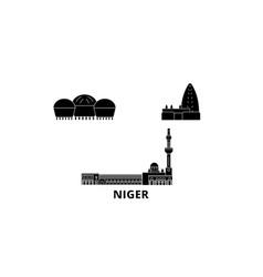 Niger flat travel skyline set niger black city vector