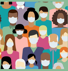 People in white medical face mask seamless vector