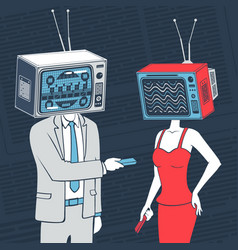 people with head tv communicate concept vector image