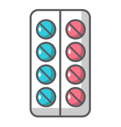 Pills in blister pack icon cartoon style vector