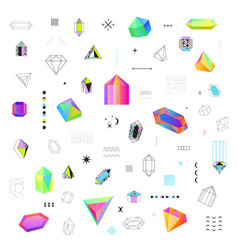 Polygonal crystals icons big set vector