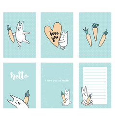 Rabbit cards vector