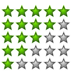 rating stars with glossy vibrant stars 5 star vector image