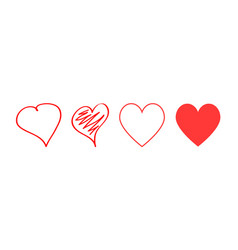 red hearts icons different design love symbol vector image