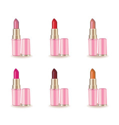 red lipstick cosmetics product realistic vector image