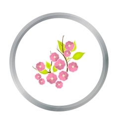 Sakura flowers icon in cartoon style isolated on vector