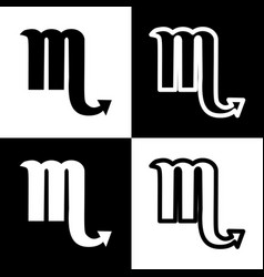 Scorpio sign black and white vector