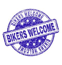 scratched textured bikers welcome stamp seal vector image