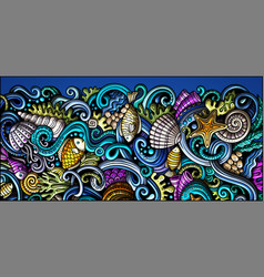 sea life hand drawn doodle banner cartoon vector image