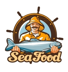seafood logo fishing or fresh fish icon vector image