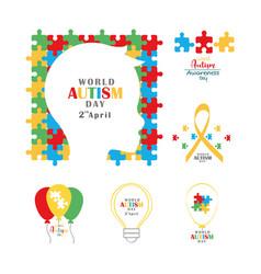 Set autism awareness day head child ribbon balloon vector