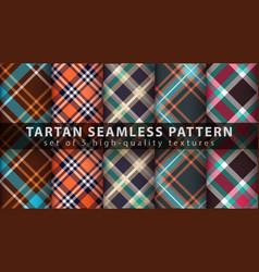 set classic tartan seamless pattern vector image