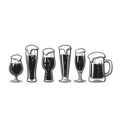 Set different types beer glasses hand drawn vector