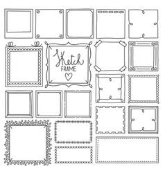 set frame doodle hand drawn sketch vector image