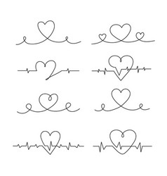set line for hearts vector image