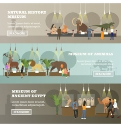set of banners with various museum vector image