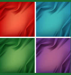 Set of colored silky textile with wavy folds vector