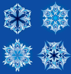 set of floral snowflakes vector image
