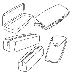 set of pencil case vector image