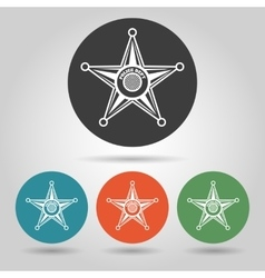 Sheriff star badge icons set vector