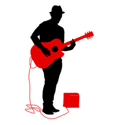 silhouette musician plays the guitar on a white vector image