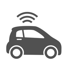 Simple monochrome unmanned vehicle smart car icon vector