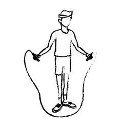 Sketch man training jump rope fitness vector