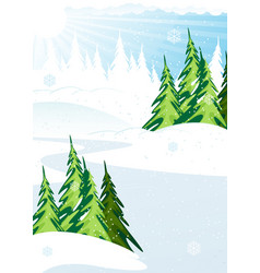 Snow covered forest vector