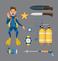 Spearfishing diving equipment set vector