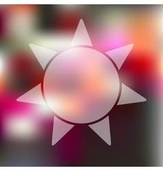 Sun icon on blurred background vector