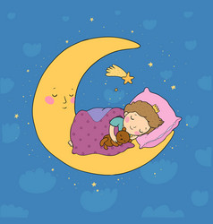 the little prince is sleeping on moon cute vector image