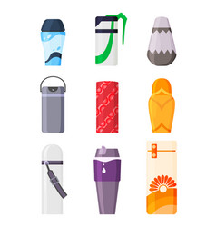 thermos vacuum flask set or bottle with hot vector image