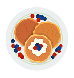 three pancakes with berries on a plate icon flat vector image