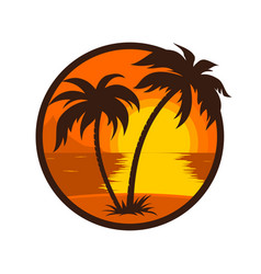 Tropical sunset with palm tree round icon vector