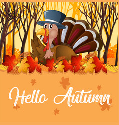 turkey and orange autumn template vector image