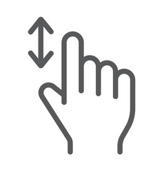 vertical scroll line icon finger and gesture vector image