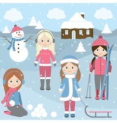 Winter Girls vector