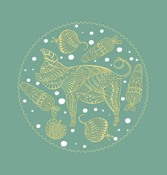 With patterned pig and veg vector