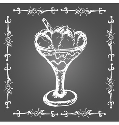 Chalk ice cream in glass with cinnamon stick vector image vector image
